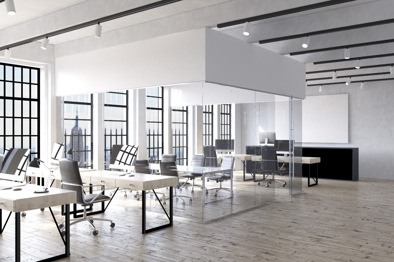 office-interior-in-new-york-with-desks-computers-transparent-room-in-center-and-big-poster-on-wall
